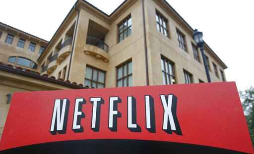 FILE - This Jan. 29, 2010, file photo shows the company logo and view of Netflix headquarters in Los Gatos, Calif. Netflix's normally lighthearted Twitter account took on a more somber tone on Saturday, May 30, 2020: