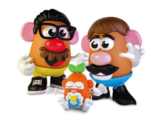This photo provided by Hasbro shows the new Potato Head world. Hasbro created confusion on Thursday, Feb. 25, 2021, when it removed the gender from its Mr. Potato Head brand, but not from the actual toy. The company, which has been making the potato-shaped plastic toy for nearly 70 years, announced that it was dropping Mr. from the brand in an effort to make sure