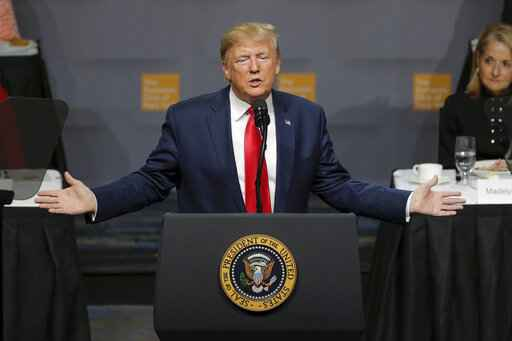 President Donald Trump addresses the Economic Club of New York Tuesday, Nov. 12, 2019, in New York. (AP Photo/Seth Wenig)