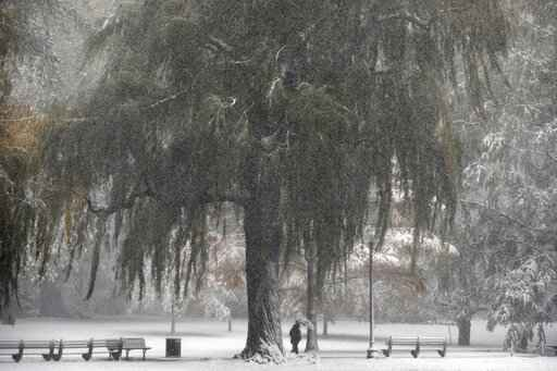 Snow falls on the Public Garden, Friday, Oct. 30, 2020, in Boston. (AP Photo/Michael Dwyer)