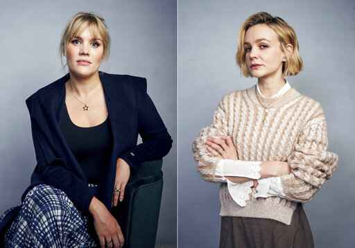 Writer/director Emerald Fennell, left, and actress Carey Mulligan pose for a portrait to promote their film