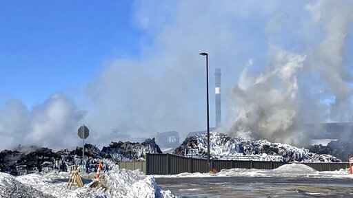 A massive fire at Northern Metal recycling in Becker, Minnesota, that has been burning for days, seemed to be under control Thursday morning, Feb. 20, 2020. The Becker Police Department posted Thursday  that