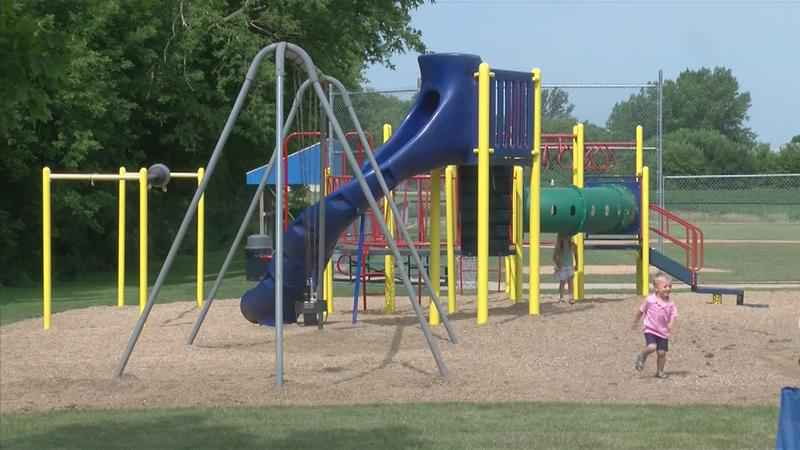 New Hayfield Park With Familiar Play Equipment