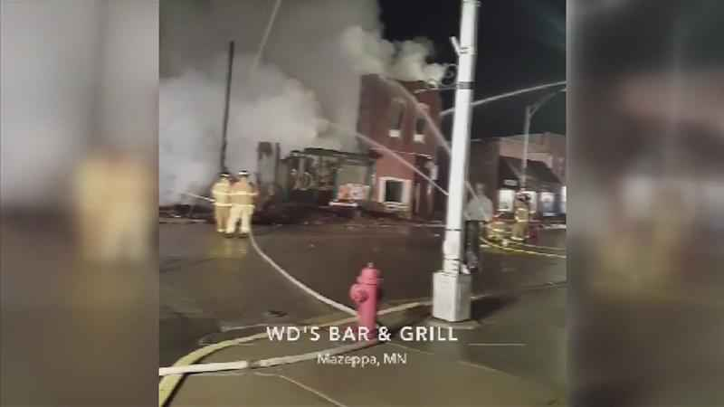 Mazeppa Fire Department and Others Battle Blaze at Downtown Bar and Grill