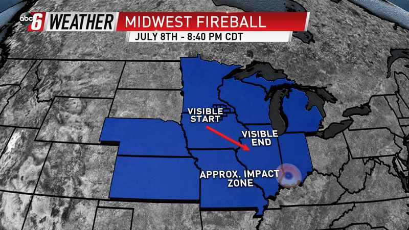 Fireball seen across Midwest skies Sunday evening