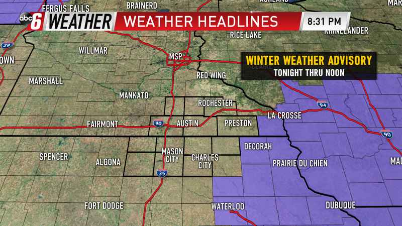 Winter Weather Advisory to our East