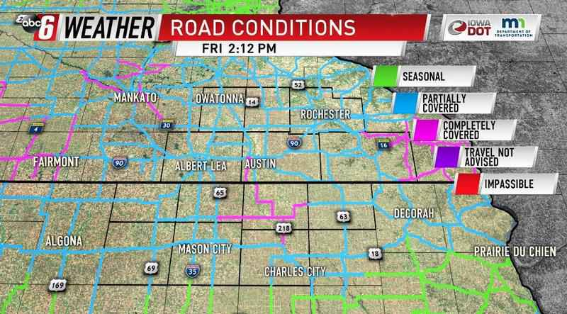 Road Conditions In Iowa Map.Road Conditions Continue To Deteriorate Due To Snow Kaaltv Com