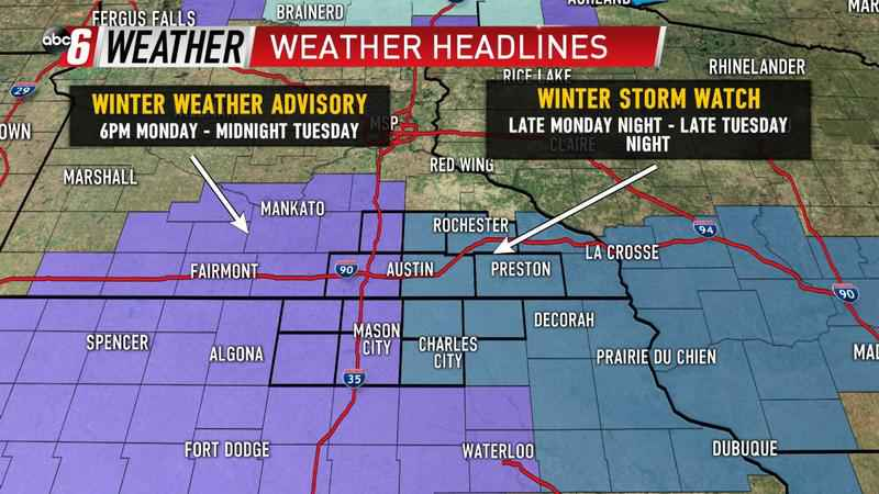 Winter Weather Advisory And Winter Storm Watch For Region