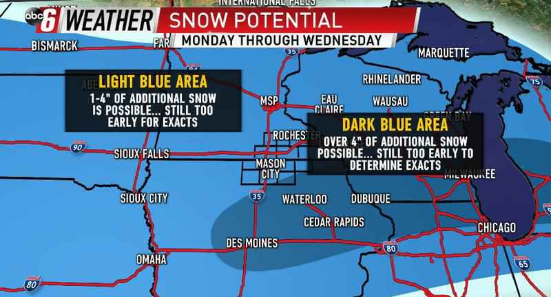 Measurable Snow Arrives Starting Monday Afternoon