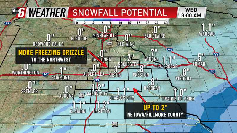 Freezing Drizzle, Shift South Slashes Snow Amounts