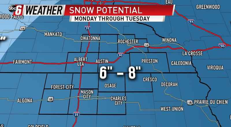 Measurable Snow Expected Starting Monday Afternoon
