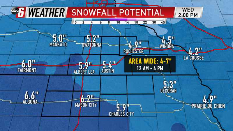 Wednesday Winter Storm Snowfall