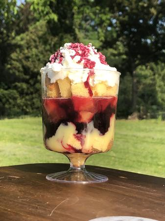Boozy Berries and Barb Trifle