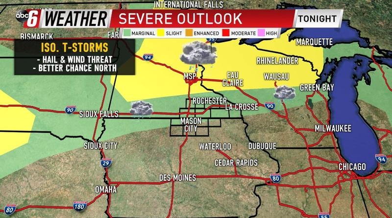 A Few Storms Monday, Mainly North