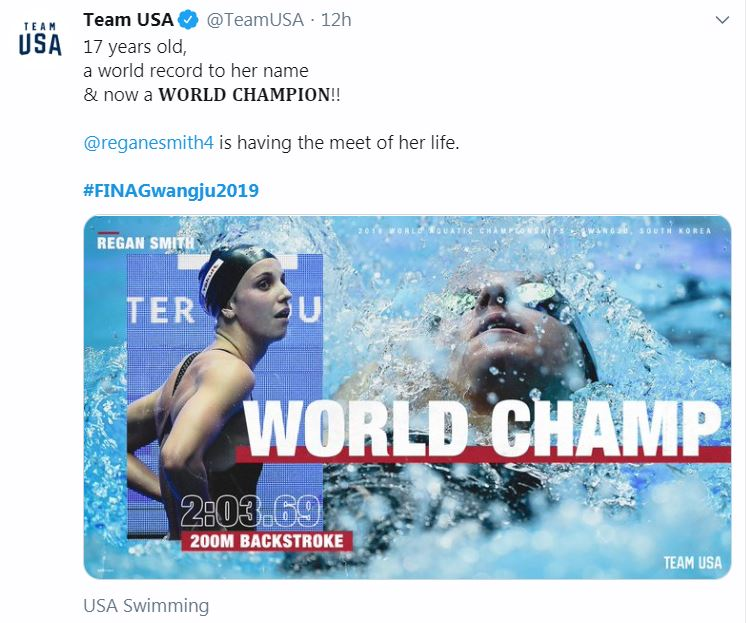 Lakeville Teen Regan Smith Wins World Title in 200-Meter Backstroke; Young Swimmer Reacts