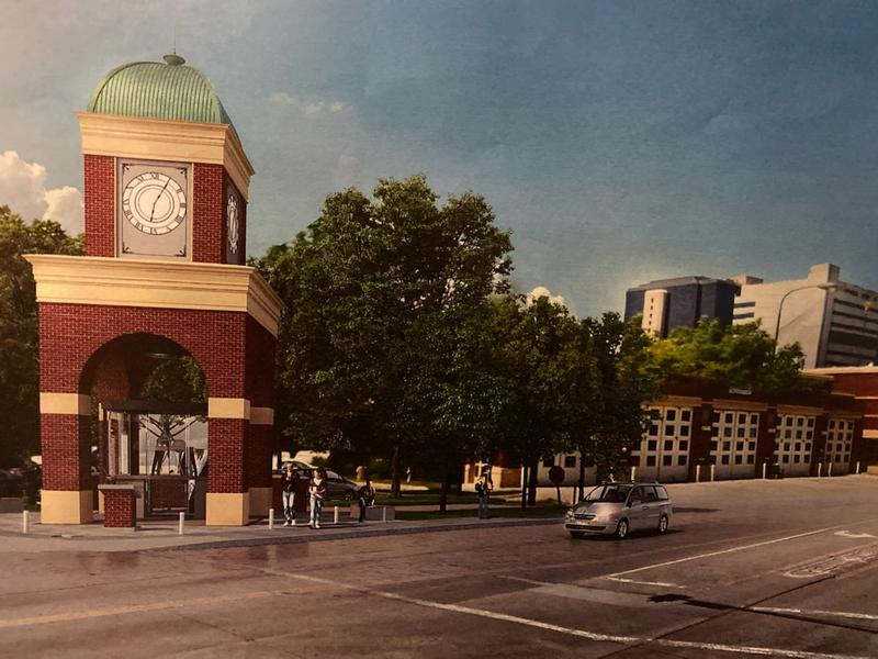Digital graphic of what the clock and bell tower will look like if approved and funded