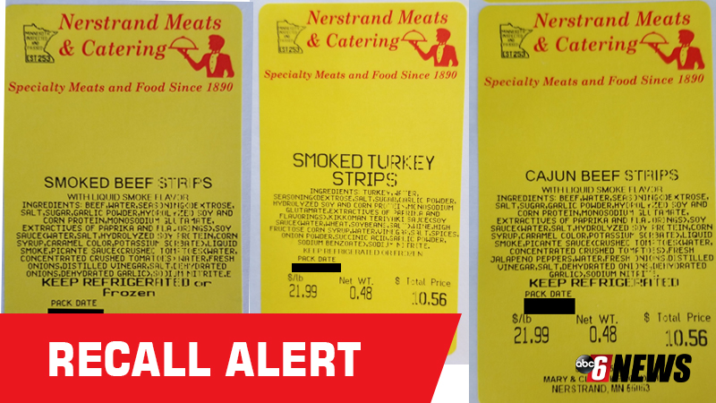 RECALL: Beef, turkey strips recalled due to improper processing