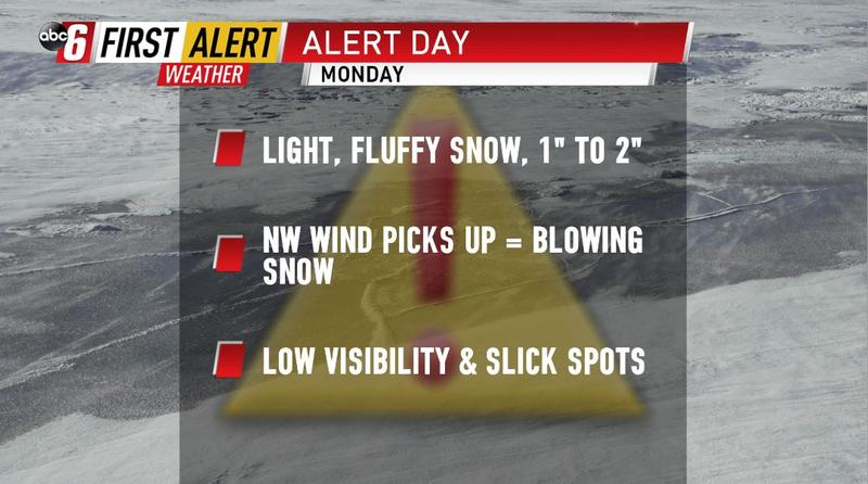 ALERT DAY - Light snow, blowing snow, & difficult travel at times