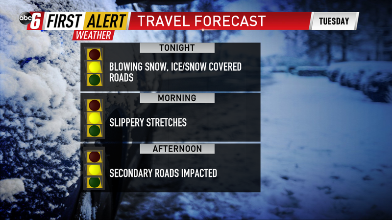 Slippery travel extends into Tuesday