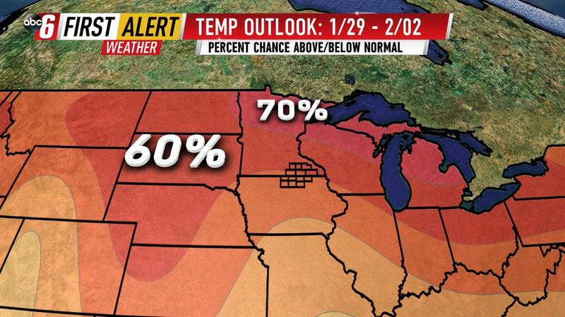 Above normal temperatures to end January/start February