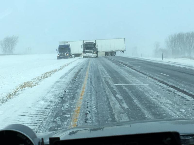 I-35 South of Clear Lake (182mm). The interstate was shut down until the semi was able to be towed.