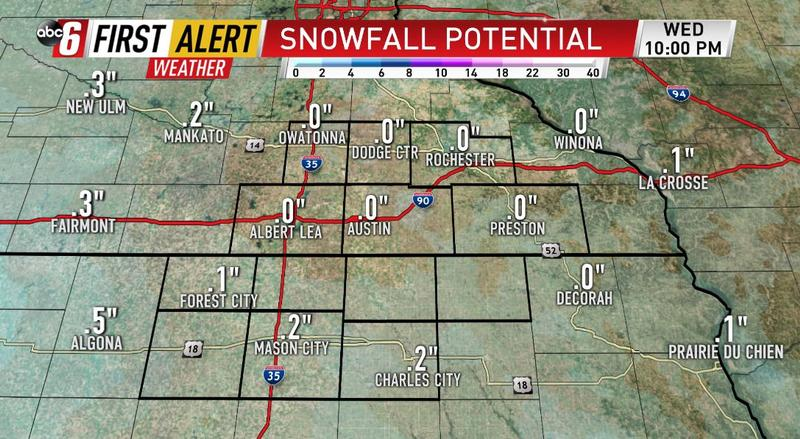 Snow clips the area Wednesday