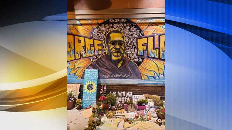 George Floyd mural defaced in Minneapolis
