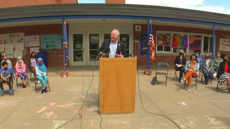 Gov. Tim Walz speaks during a press conference on his summer learning plan on Tuesday, May 4, 2021.