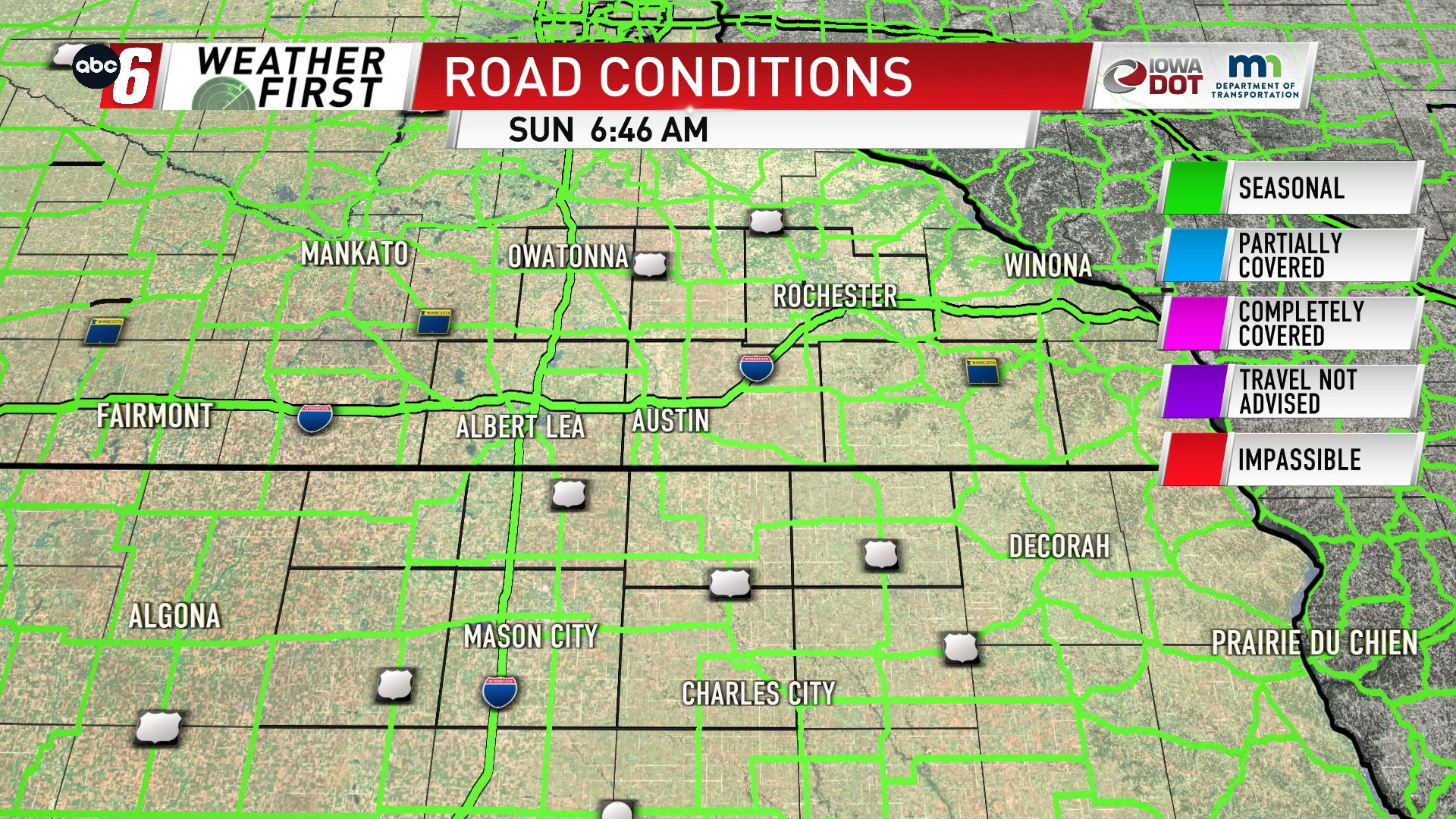 Road Conditions Map, Southeast Minnesota